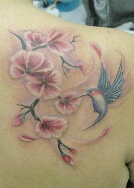 Cherry Blossom Tattoo - next tattoo - I want a full back tattoo to include a cheery blossom tree, hummingbird, blue bird, and a dragonfly for my grandparents - I need to call and make an appt!!!