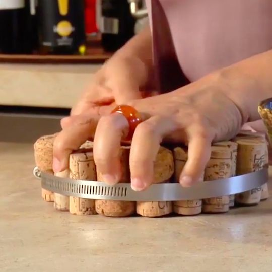 Wine cork trivet. Nice touch for your own dinner party or for a hostess gift.