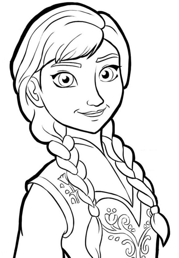 pctures of frozen coloring book | Anna Portrait Frozen Coloring Page