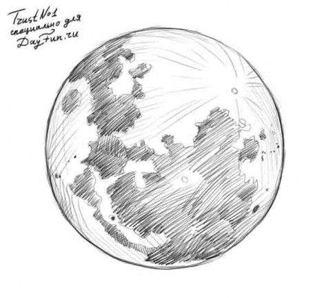 How to draw the moon step by step 4