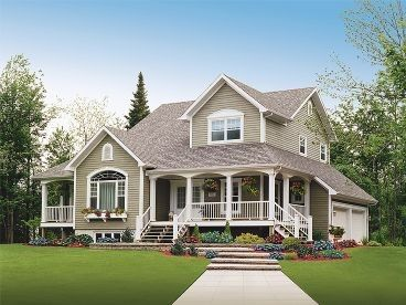 country homesFarms House, Floors Plans, Dreams Home, Country House, Dreams House, Country Home, Farmhouse Style, Front Porches, House Plans