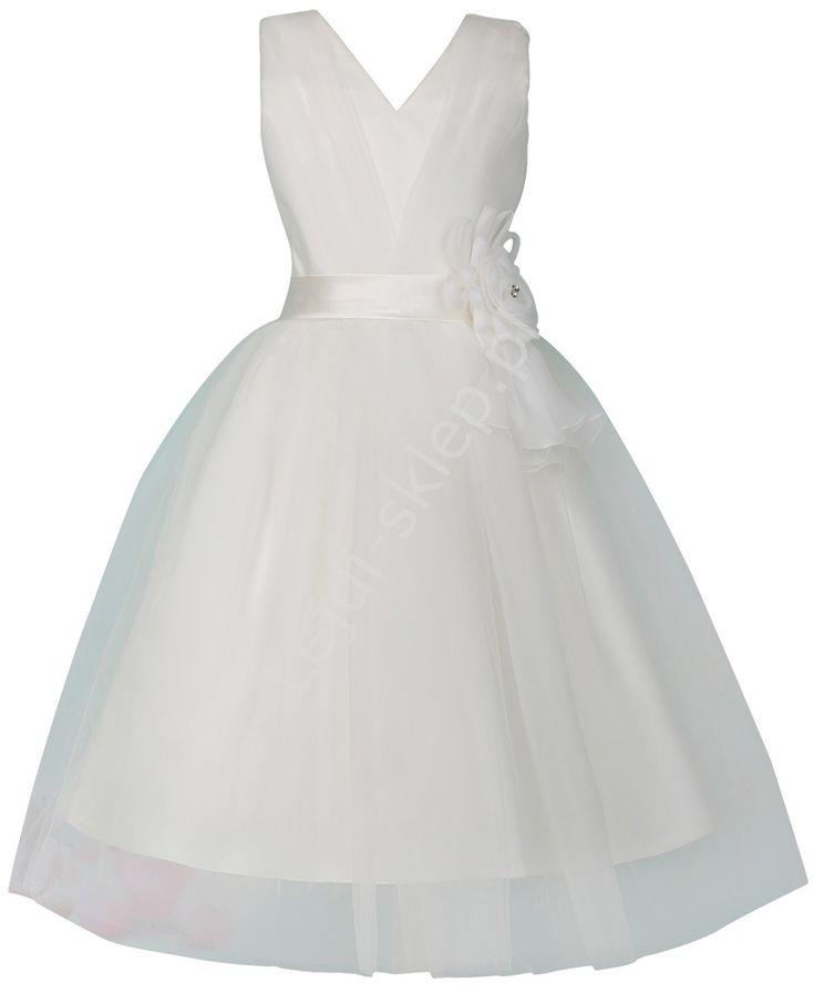 Sukienka komunijna   biała dziewczęca sukienka   tiulowa sukienka na komunie