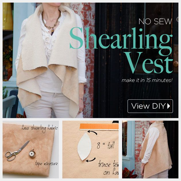 DIY Shearling Vest Учебное пособие по www.trinketsinbloom.com
