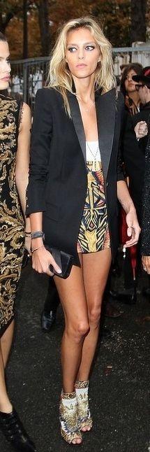 longline blazer, printed skirt, embellished sandals, simple jewels