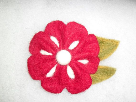 Felted brooch from wool  red flower. Gift for her. by EmisaFelt