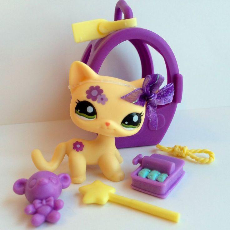 Littlest Pet Shop RARE Shorthair Cat #1962 w/Purple Flower,Carrier & Accessories #Hasbro