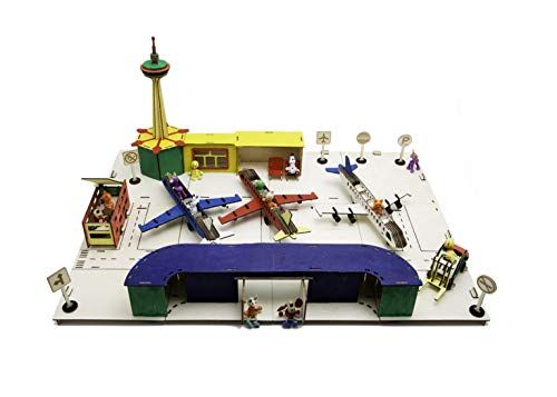 Play Method A DIY Airport – Made Out of Wooden , with Planes , Management Tower , a Runway and Little Picket Dolls -as Passengers, a playset for Kids and for The Total Household, Giant, Mild Wooden
