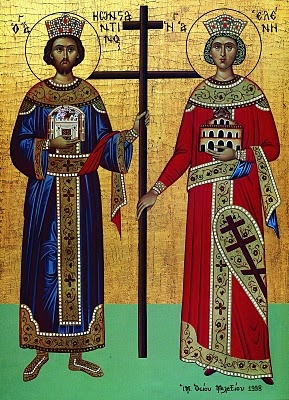 Sts. Constantine and Helen.     Note that St. Constantine holds the city of Constantinople in his hand; and St. Helen holds the Church of the Holy Sepulchre in her hand.
