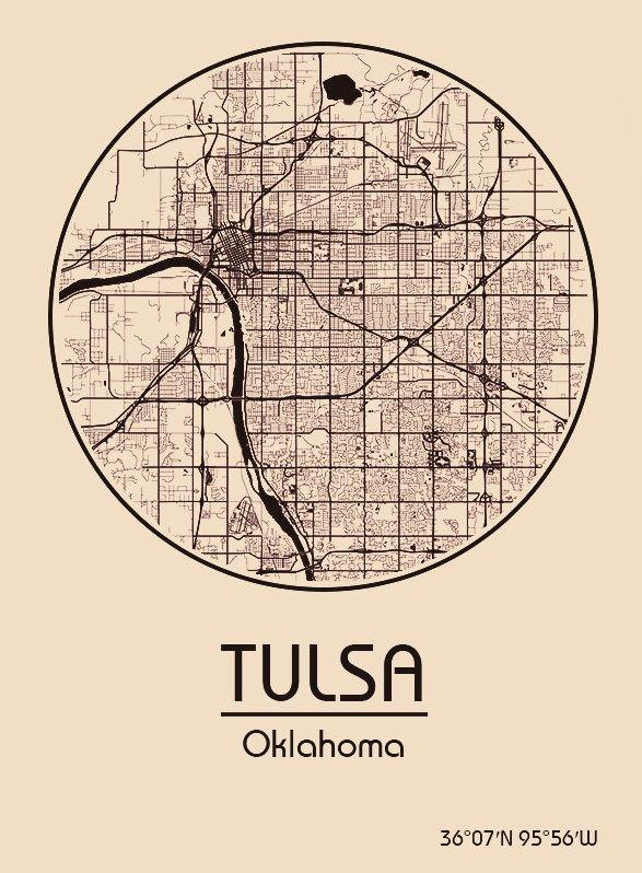Karte / Map ~ Tulsa, Oklahoma - Vereinigte Staaten von Amerika / United States of America / USA