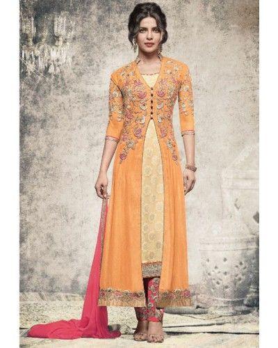 Orange Yellow Georgette Jacquard Salwar