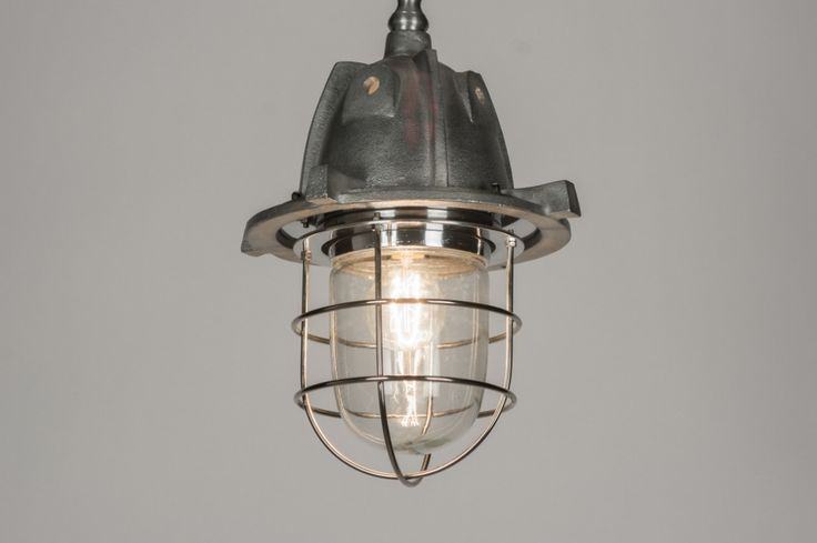 Hanglamp 10058 retro industrie look chroom metaal rond