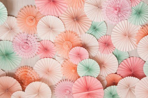 Mint and Coral Colored Paper Art Wallpaper