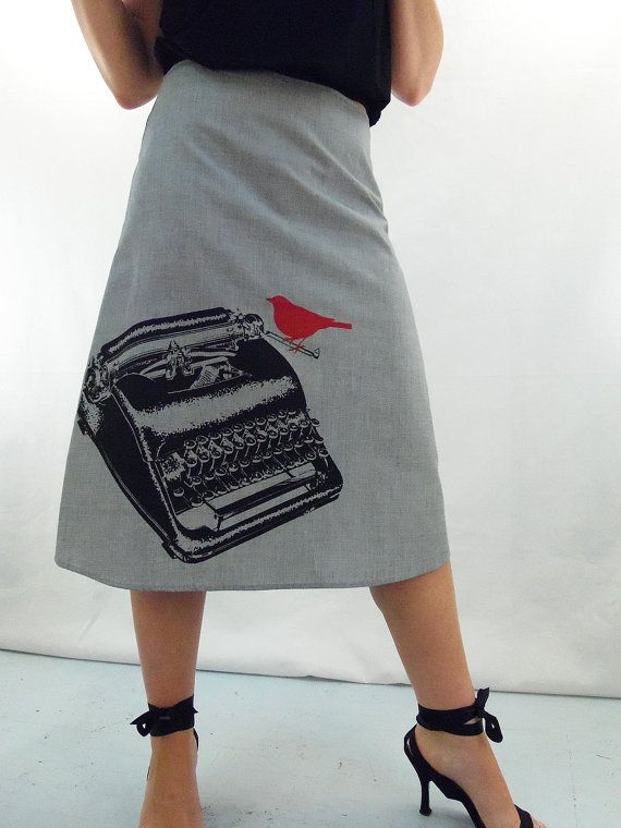 size: M, length: short. $49. Austin designer. Typewriter Print Gray Skirt - Aline Cotton Skirt - Silk Screen Printed to Order