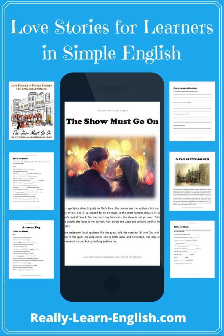 Love Stories for Learners in Simple English ===>>> Here you can find beautiful stories in simple English for you to read, download and practice. Read interesting stories and improve your English at the same time. These stories and exercises are perfect for English students, ESL ELL teachers, and tutors.