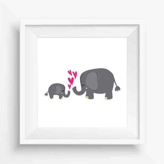 Baby Elephant and Mumma by agirladrift on Etsy