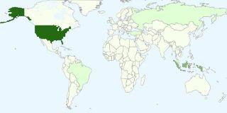 Grafik negara yang paling populer di kalangan pemirsa blog