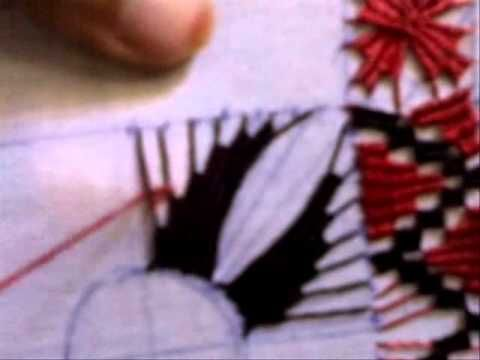 Puncte de dantelă-Punct piramidal în feston dus-întors - YouTube