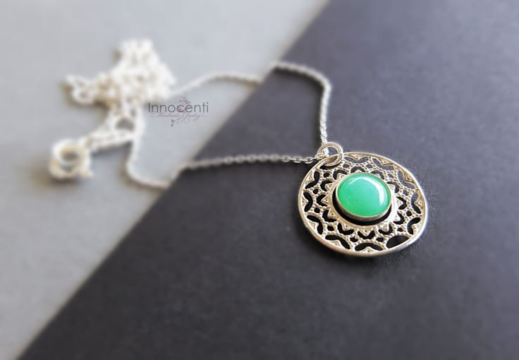 Chrysoprase Necklace Filigree Necklace Dainty Silver Necklace Delicate Silver Jewelry Green Stone Necklace Chrysoprase Jewelry by INNOCENTIJEWELRY on Etsy