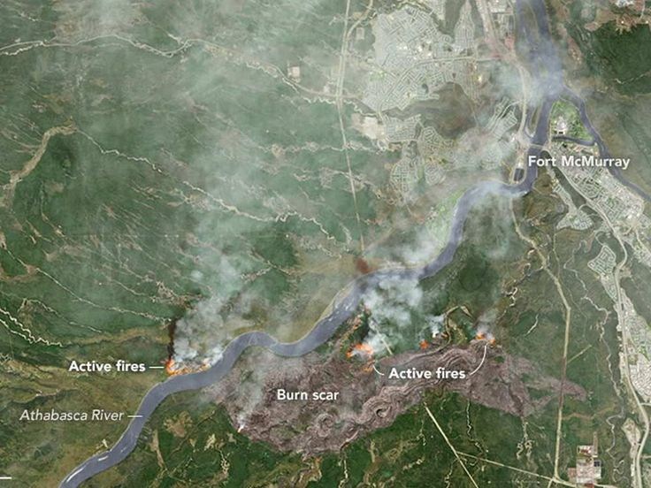 A satellite photo of northern Alberta wildfires before they hit Fort McMurray.