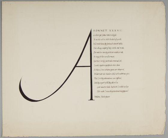 Christopher Wilmarth, American (Sonoma, CA 1943 - 1987 New York, NY). Calligraphy: Sonnet XXXVII (Shakespeare), 1961, (W90) | Harvard Art Museums