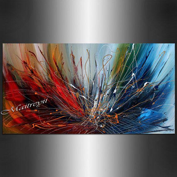 Original peinture acrylique rouge bleu grande peinture abstraite sur toile, Art abstrait peinture ART murale pour l