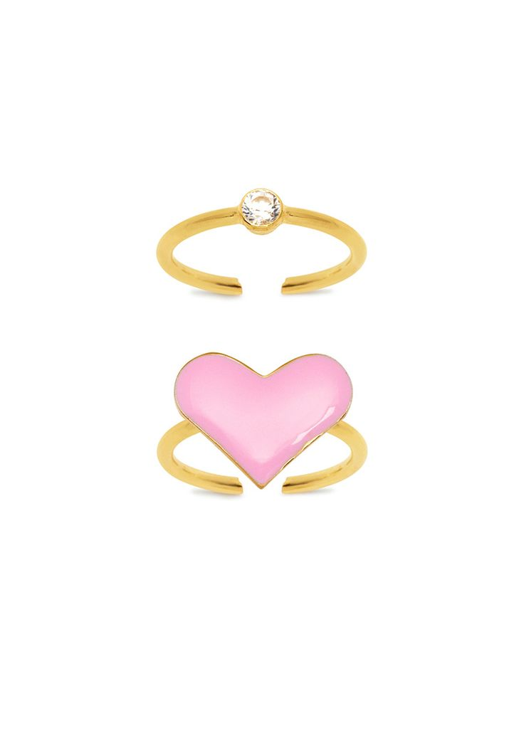 Maria Francesca Pepe Ring Set with Enamel Heart and Crystal.