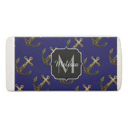 Yellow Gold sparkles Anchor Monogram navy blue Eraser - monogram gifts unique design style monogrammed diy cyo customize