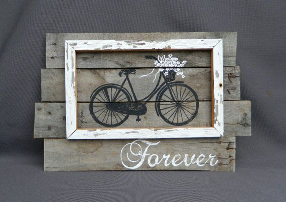 Wedding hand painted painted Daisies antique bike, Distressed, Wall art, barn wood, Reclaimed Wood Pallet Art, Rustic and Shabby Chic