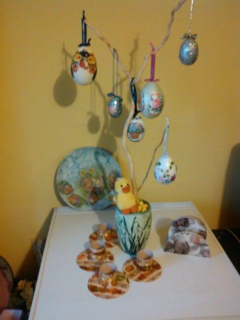 Decoupage húsvétfa, tányér, alátét Minden vásárolható