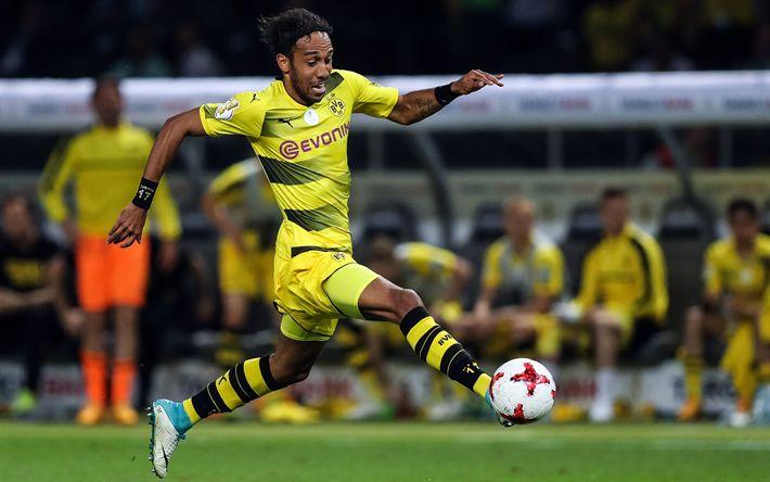 Download wallpapers BVB, Pierre-Emerick Aubameyang, match, Bundesliga, soccer, Borussia Dortmund, footballers