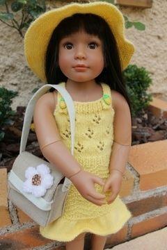 Habit Poupée Kidz 46 cm chapeau&robe soleil - tricot - Tutoriels de tricot chez Makerist