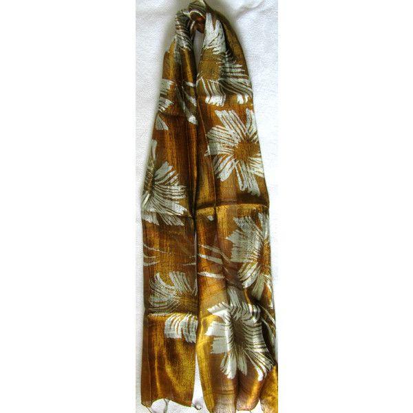 Golden Silk Scarf Hand Dyed Handwoven Batik Handmade Wedding Gift Wedding Accessories Light Weight Silk Scarf Natural Pure Raw Silk For Her (€15) found on Polyvore featuring women's fashion, accessories, scarves, lightweight shawl, silk shawl, silk scarves, lightweight scarves and batik scarves