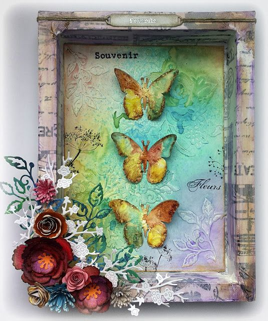 Butterfly Shadowbox by Susanne Rose, using some lovely stamps from Rubber Dance…