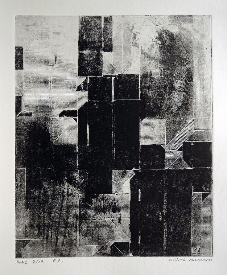 Entropie organisée - by Philippe Chesneau - rep. 1469 - Héliogravure Not toxic engraving - tirage print Vieille Hollande H  L 25 x 20 cm