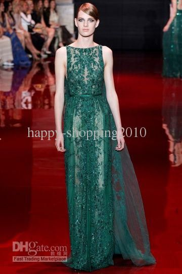 2013 2014 Elie Saab Dark Green Tulle With Applique Illusion Jewel Neckline American Pageant Dresses Celebrity Evening Gown Easter Dresses Formal Dresses For Juniors From Happy Shopping2010, $228.9| Dhgate.Com