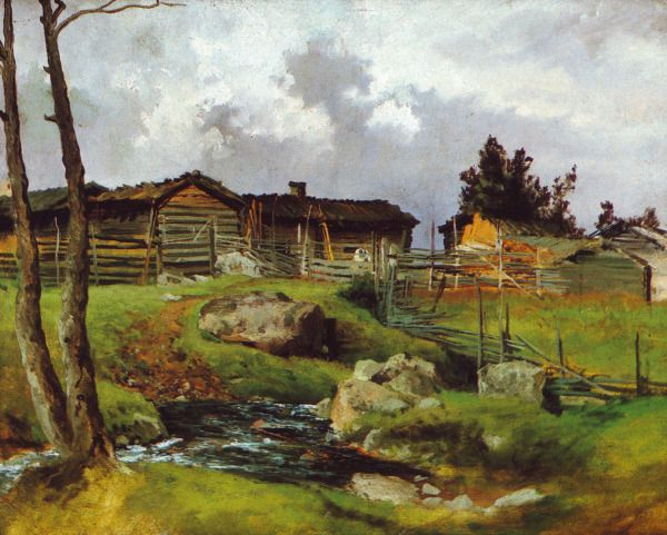"""Lähestyvä Ukonilma"" (1870) by Hjalmar Munsterhjelm (19 October 1840 Tuulos – 2 April 1905 Helsinki), Finnish painter.  http://en.wikipedia.org/wiki/Hjalmar_Munsterhjelm"