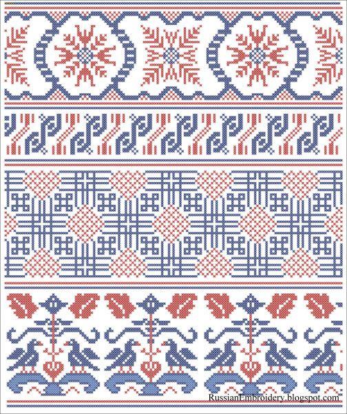 Старинные схемы для вышивания: Орнаменты. Реклама Т-ва Брокар и Ко