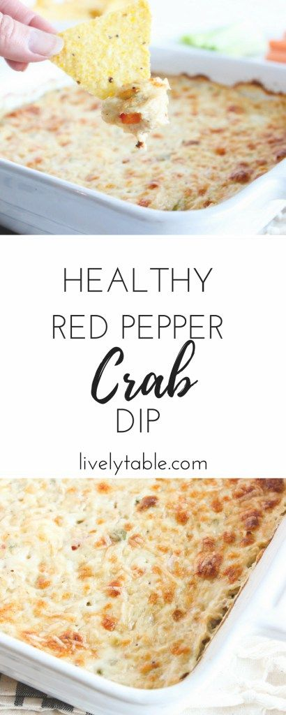 A hot, cheesy, healthier red pepper crab dip that's perfect a perfect snack or appetizer for guests during football games, parties, or tailgating! via livelytable.com