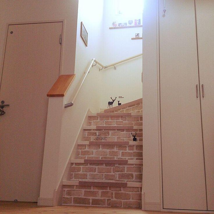 セリア×ニトリ 階段滑り止めマットのインテリア実例 | RoomClip ... Entrance/ウォールステッカー/100均/階段/セリア/キャンドゥ/壁紙/