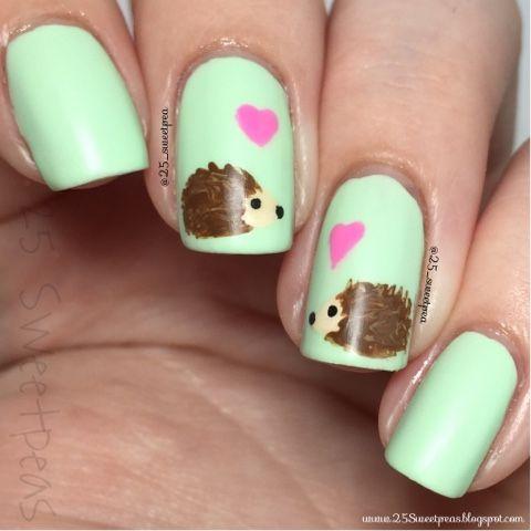 25 Sweetpeas: Woodland Animal: Hedgehog Nail Art