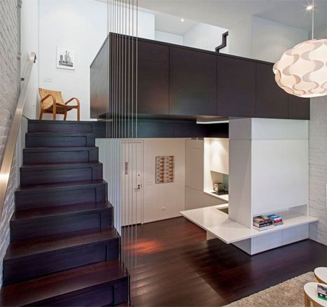 small space manhattan apartment overview - love the cable stairs, use of different levels and the storage in the stairs