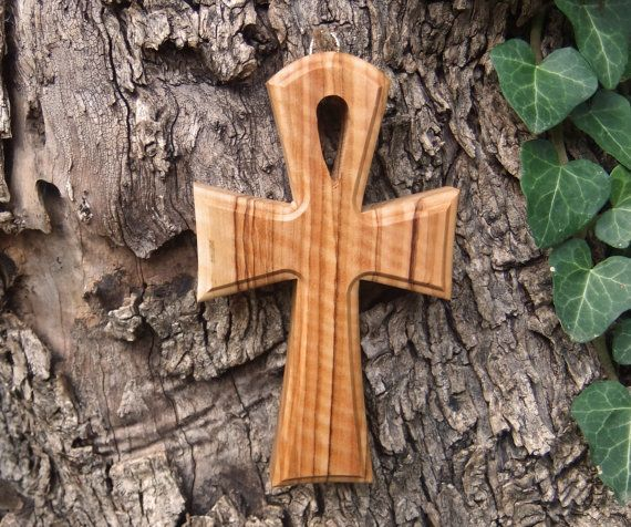 Cross solid olive wood Ankh cross by ellenisworkshop on Etsy