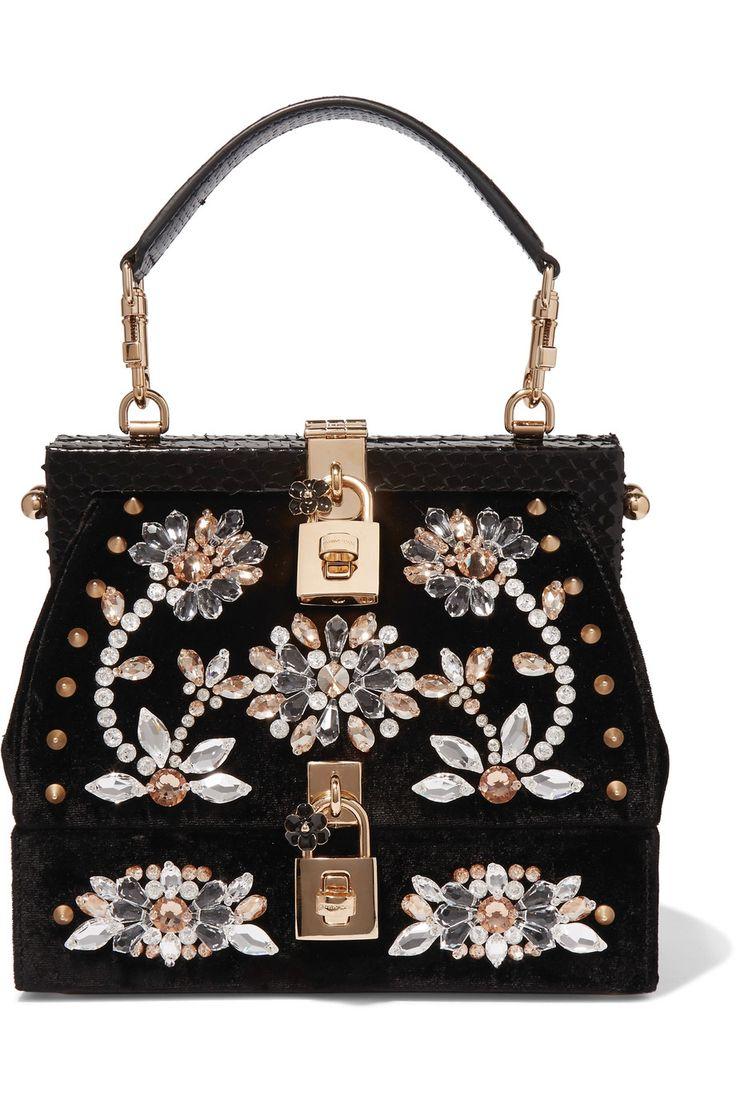 Dolce & Gabbana | Snake-trimmed embellished velvet tote | NET-A-PORTER.COM
