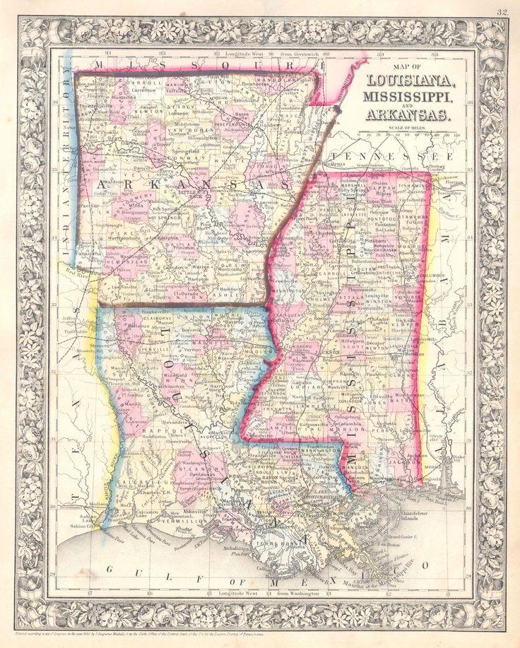 1864 Mitchell Map of Louisiana, Mississippi and Arkansas