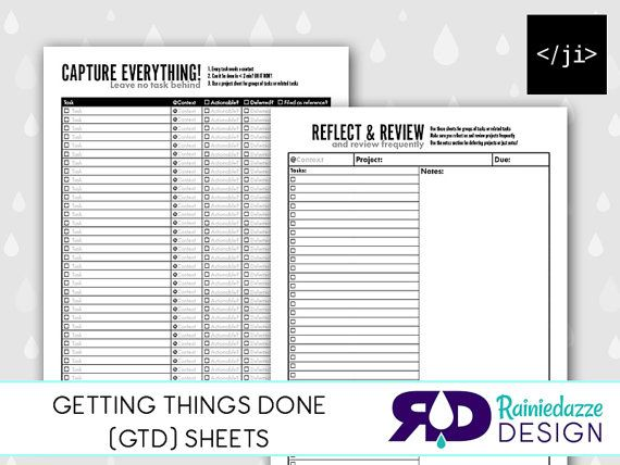 Getting Things Done GTD Sheets Printable by Rainiedazze on ...