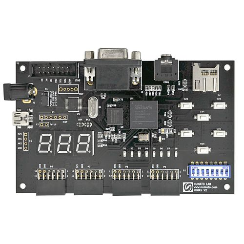 Low cost FPGA Development board featuring Xilinx Spartan-6 XC6SLX9 CSG324 FPGA, 512Mb DDR SDRAM. USB 2.0 interface provides fast and easy configuration download to the on-board SPI flash. No need to buy an expensive programmer or special downloader cable.