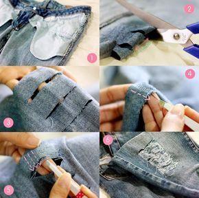 Destroyed Jeans selber machen - Faden mit Pinzette herausziehen