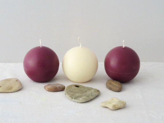Minimalist candles Marsala ball candles a set by CandlesbyDeganit