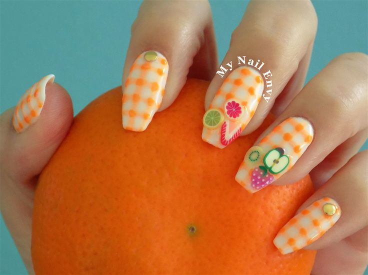 Orange Gingham Fruit Picnic Nails – My Nail Envy  orange nails, gingham nails, nail art, soak off gel, fruit nails, picnic nails, bright, neon, spring, summer, studs, fimos, 3d
