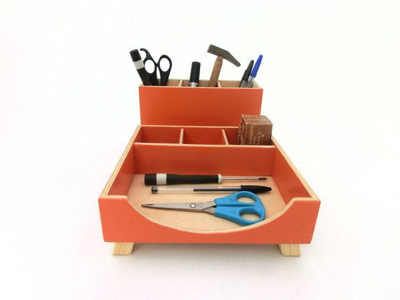FREE SHIPPING Orange Desk Pencils Organizer This Wood Desk Set Makes  Organize Your Desktop. This